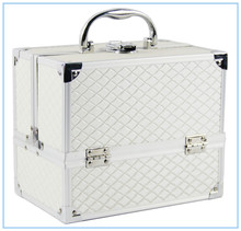 Wholesale professional aluminum trolley rolling lighted cosmetics display makeup case with lights mirror removable wheels stand