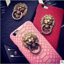 Super Cool Fashion Sexy Snake PU Leather Skin Metal Lion Head Stand Cover Back kickstand case for iPhone 7.7plus.6.6 plus