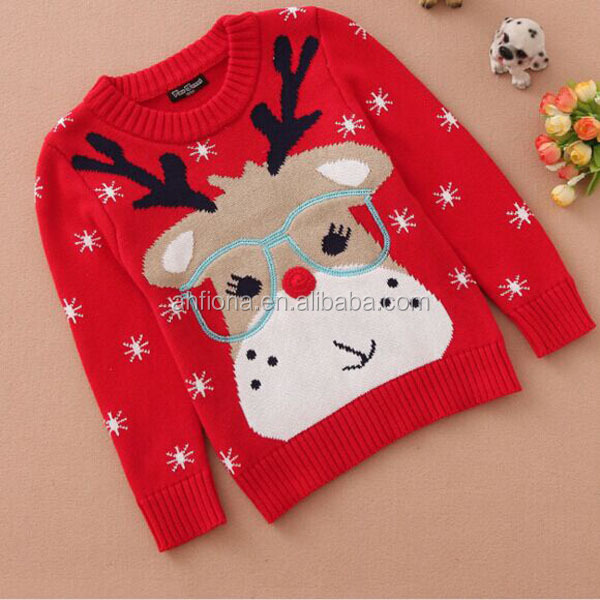 F10014S Wholesale cute design Christmas knitting sweaters new year kids boutique clothing