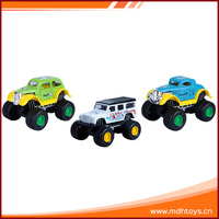Children playing pull back miniature alloy model vehicle toy on car