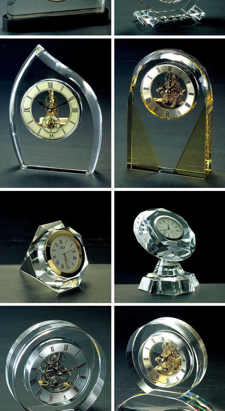 High-grade Personalize Round Transparent K9 Decorative Crystal Table Desk Alarm Calendar With Clock For Business Gifts