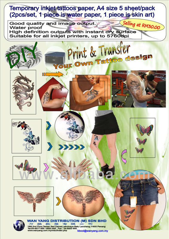 Temporary inkjet tattoos paper, A4 size 5 sheet/pack