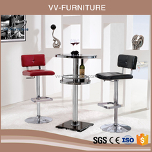 modren marble base high round glass top bar table and chairs