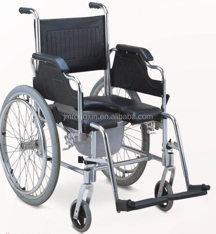 China manufacture of Rongjun Aluminum Folding Commode Wheelchair
