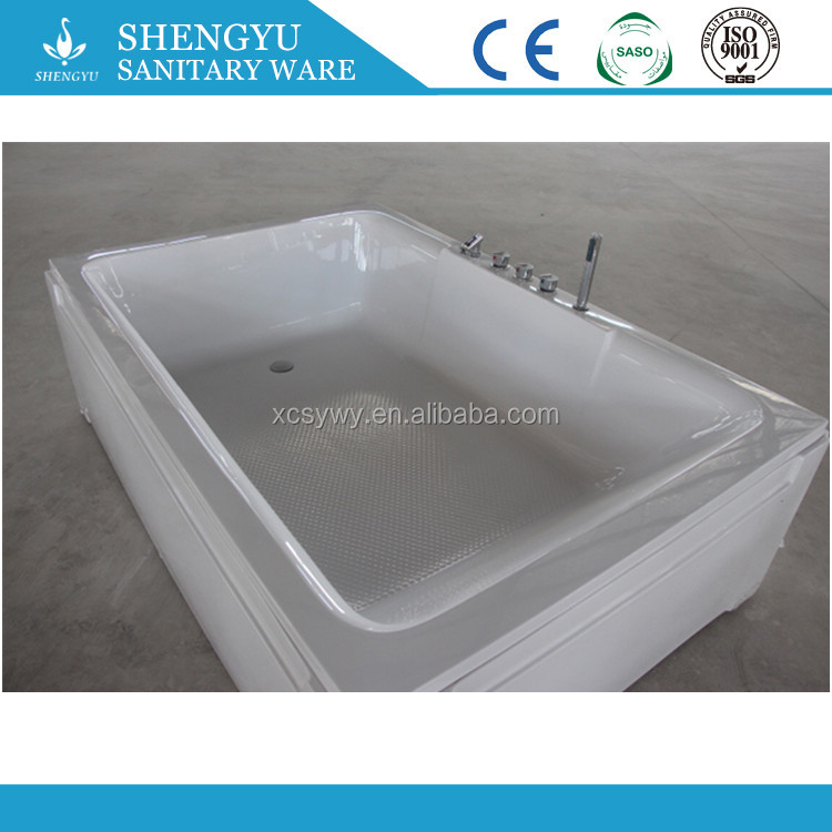Factory Acrylic freestnding corner whirlpool, couple massage bathtub with pillow, 2 seat hydromassage small sex tub in bat