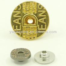 Alphabet shaped hollow clothing button and rivet