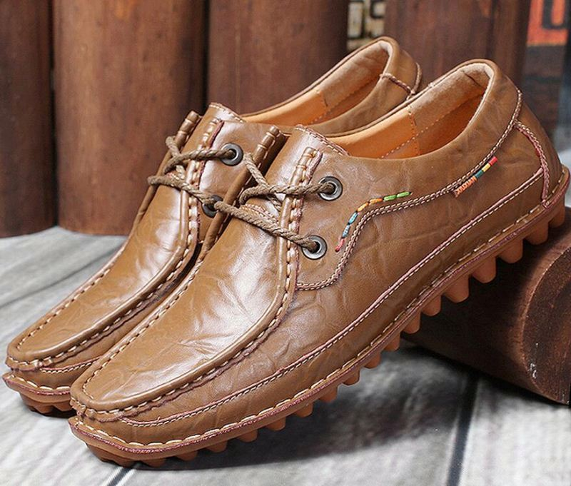 Hight quality Soft Men Genuine Leather Casual Flat Handmade Brand shoes