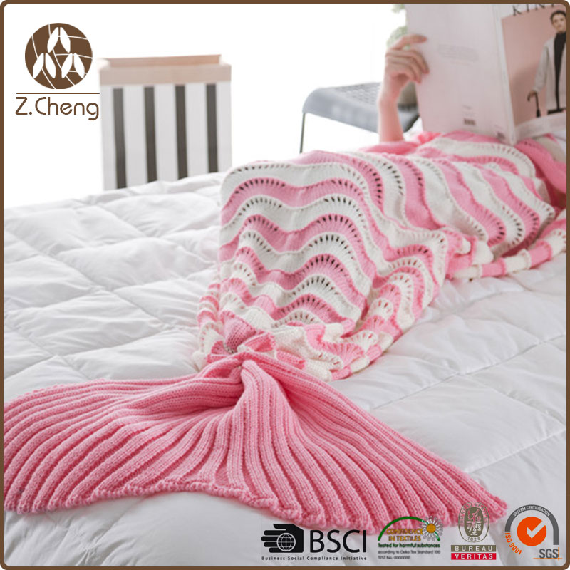 Children Knit Mermaid Fish Tail Blanket Wholesale