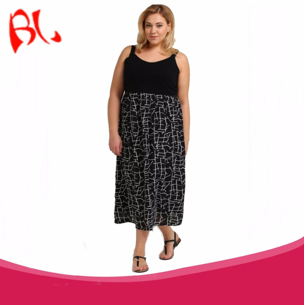2017 Best Selling Plus Size Cami and Flare Printed Casual Maxi Dress
