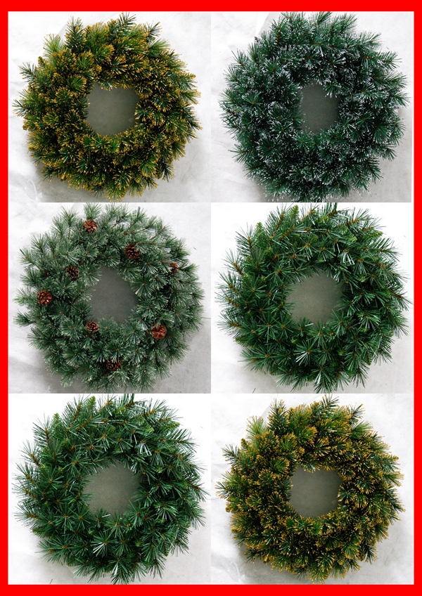 Ft pvc artificial christmas wreath garland green country