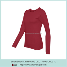 Traditional Red Crewneck Ladies' Long Sleeve Modal Sports Wear T Shirts