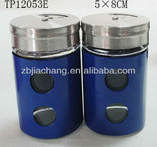 blue mini glass spice jars with stainless steel decorating