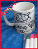 color pen mug, ceramic pen mug, sea turtle mug