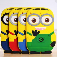 3D Cute Cartoon minion despicable me Silicone Soft Case For iPad 2 3 4