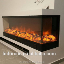 3 sided decor flame electric fireplace
