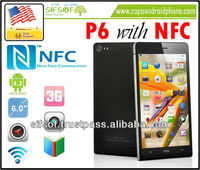 P6 6 Inch Android 4.2 SmartPhone with NFC Quad Core CPU, 720p IPS Screen, Ultra Thin, NFC Cell phone