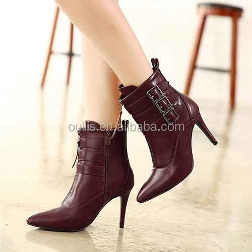 2016 hot sale designs black high heel boots fashion girl boots PQ4036