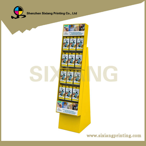 Store cell phone accessories corrugated cardboard hook display