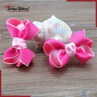New design top sell polka dots printed mixed hair bow