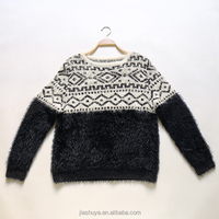 2018 O neck long sleeve fuzzy knit ladies Mexican pattern mohair sweater
