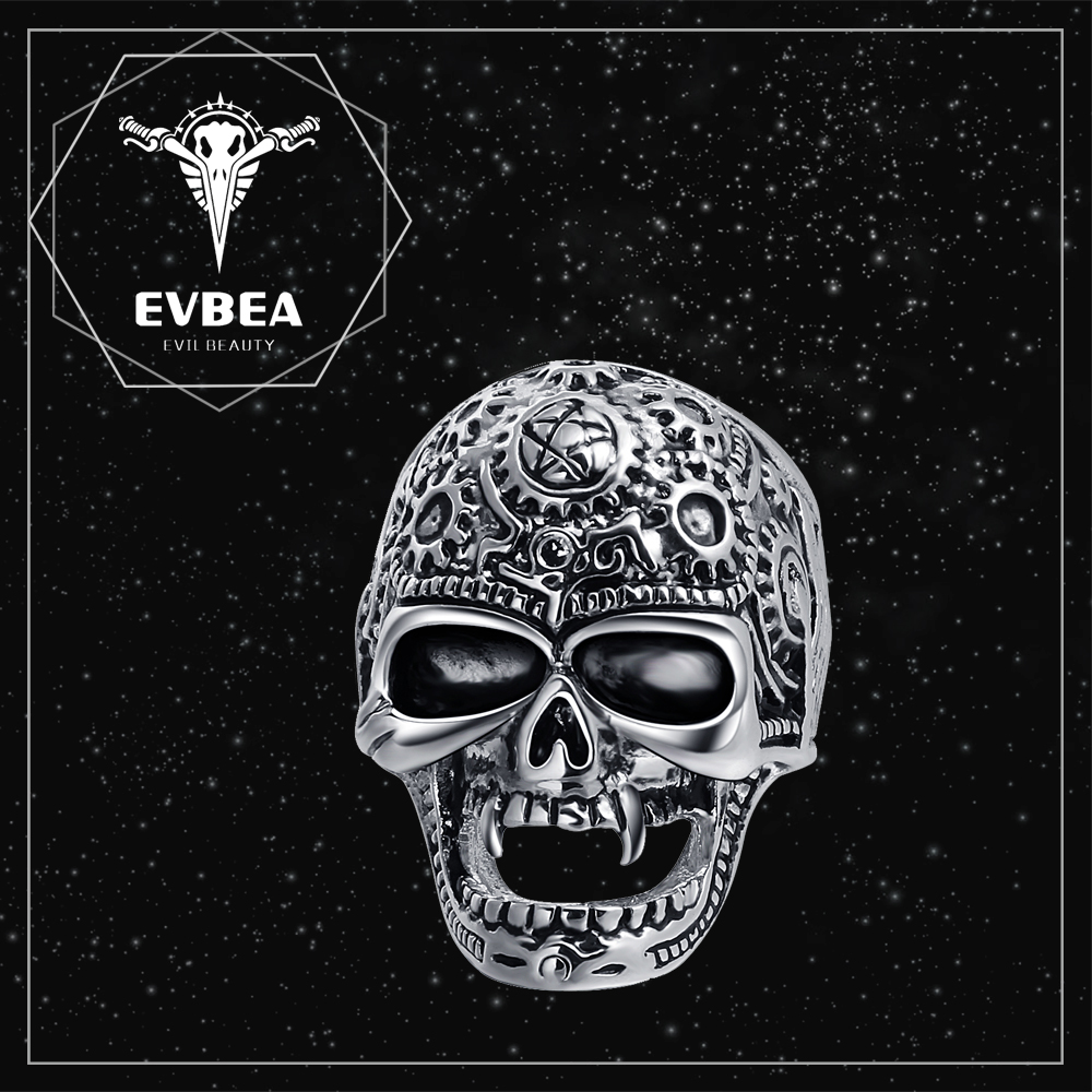 EVBEA Cool gift men black silver broad band engraved royal diamond skull wedding ring