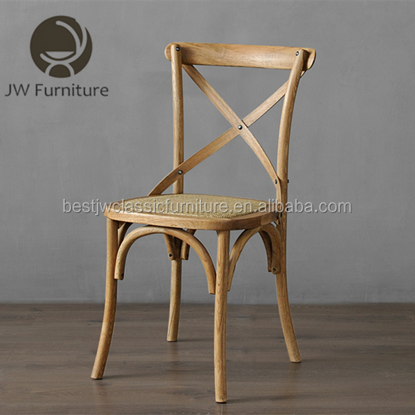 Wholesale antique style oak wood rattan cross back chair x cross dining chairs