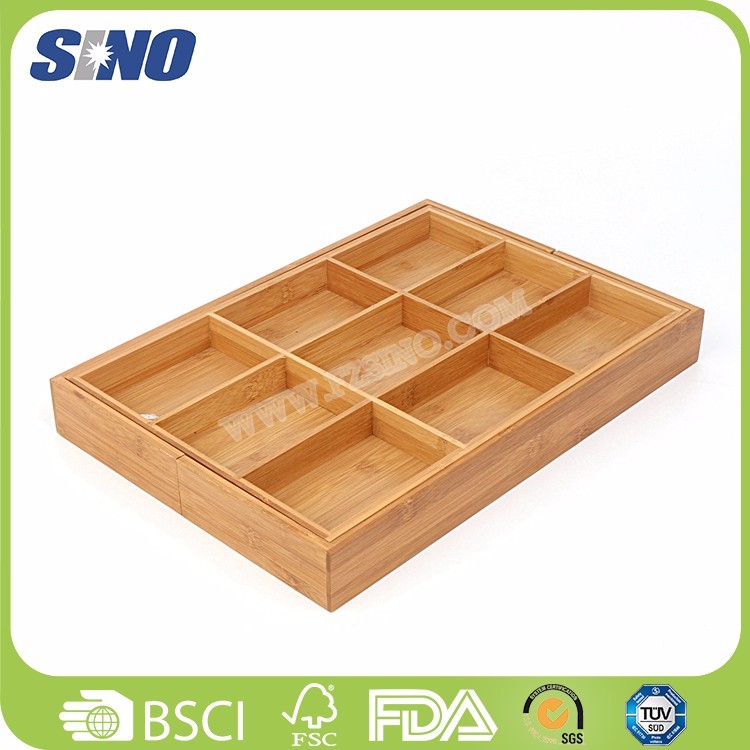 Eco-friendly Bamboo Kitchen Drawer Utensil Holder