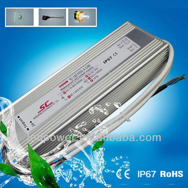 KI-1401050-A-DIM 0/1-10V dimmable constant current 90-140V 1050mA waterproof electronic led driver ip67