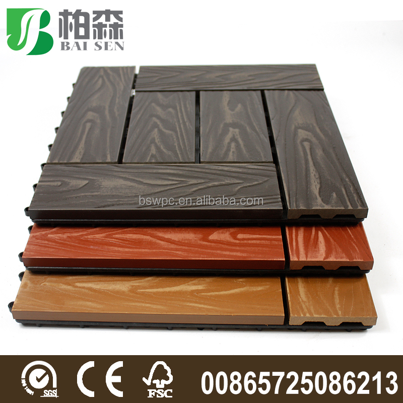 300*300mm 3D embossing interlocking plastic decking wpc tiles