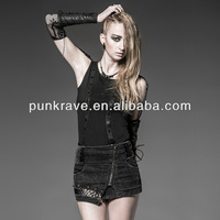 PUNK RAVE 2014 fashionable style short black jean skirts for women Q-218