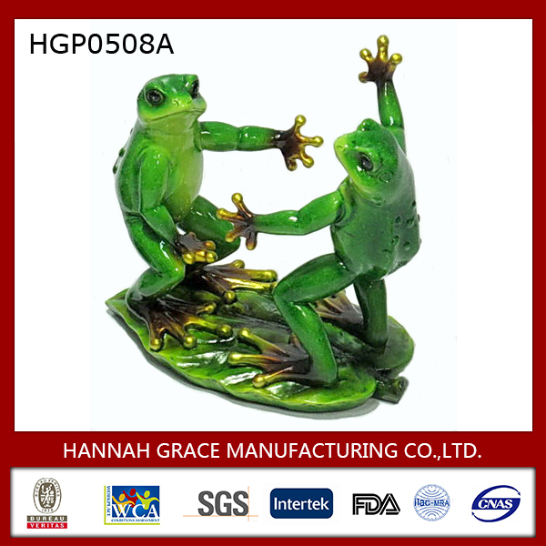 Polyresin 2 Frog Statue Wine Rack Wine Holder