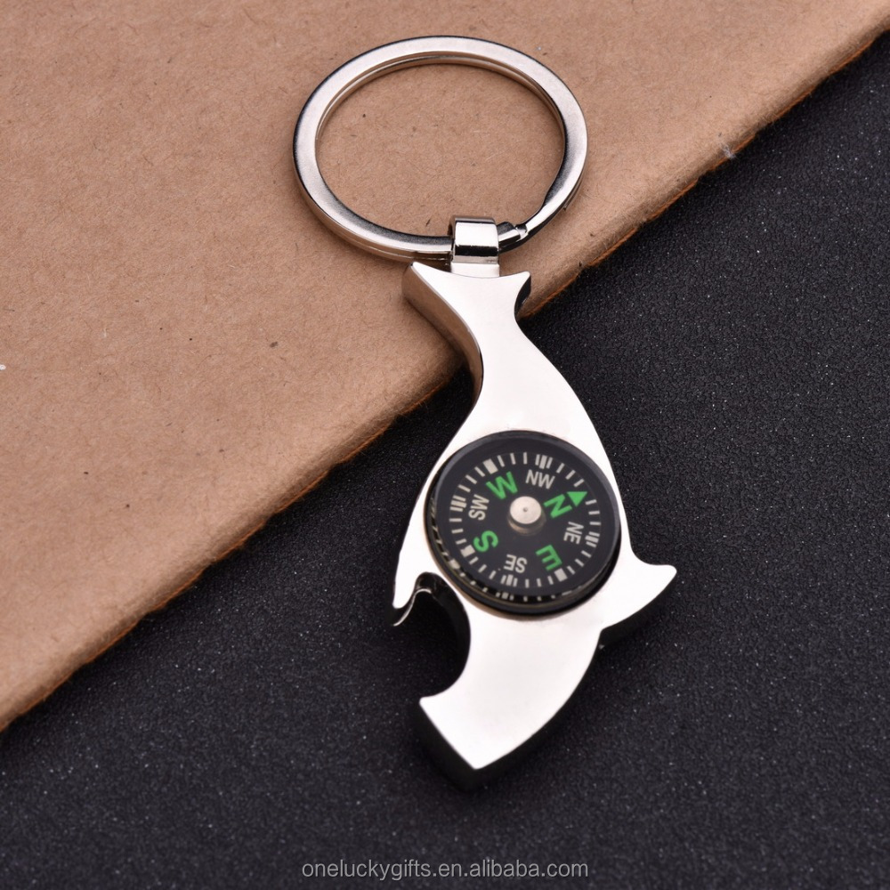 Promotional Metal Compass Opener Keychain