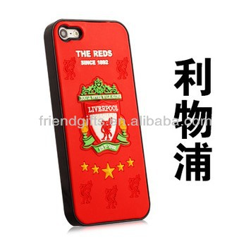 Funny football team style pvc rubber phone case wholesale