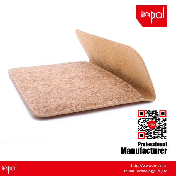 for women high quality plain magnetic cork leather cover for ipad mini