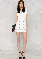 In stock new fashion summer woman dress pictures white sleeveless office dress for lady