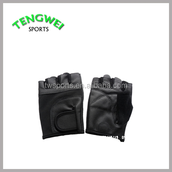Black Color Weightlifting Gloves Leather