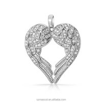 Sterling Silver Pave CZ Heart Guardian Angel Wings Pendant