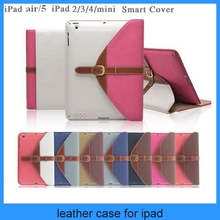 High quality Briefcase style belt leather case for ipad air/5/4/3/2/mini (PT-IPM221)