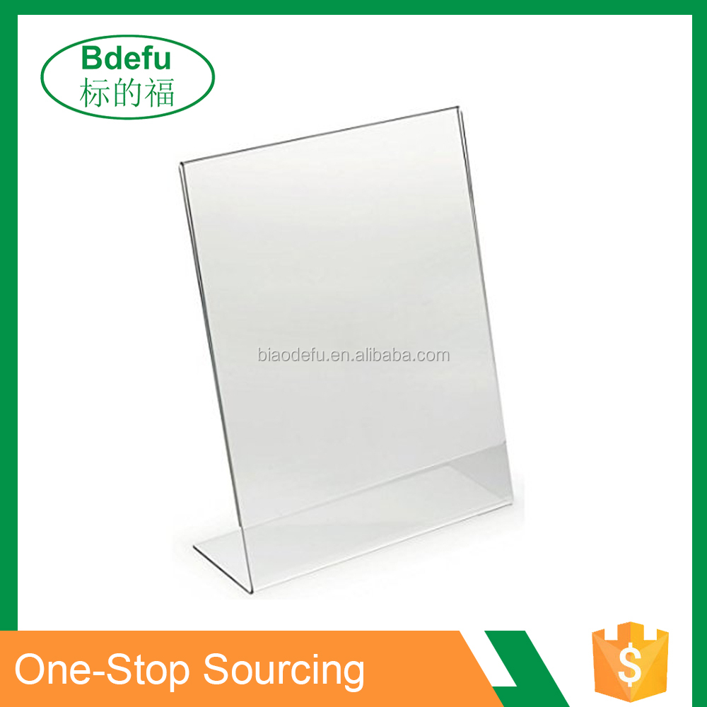 Hot sale Clear Acrylic Slant Back Ad / Sign Holder, Plastic Slanted
