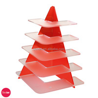 Wholesale 5 floors red clear acrylic wedding cake stand R160676