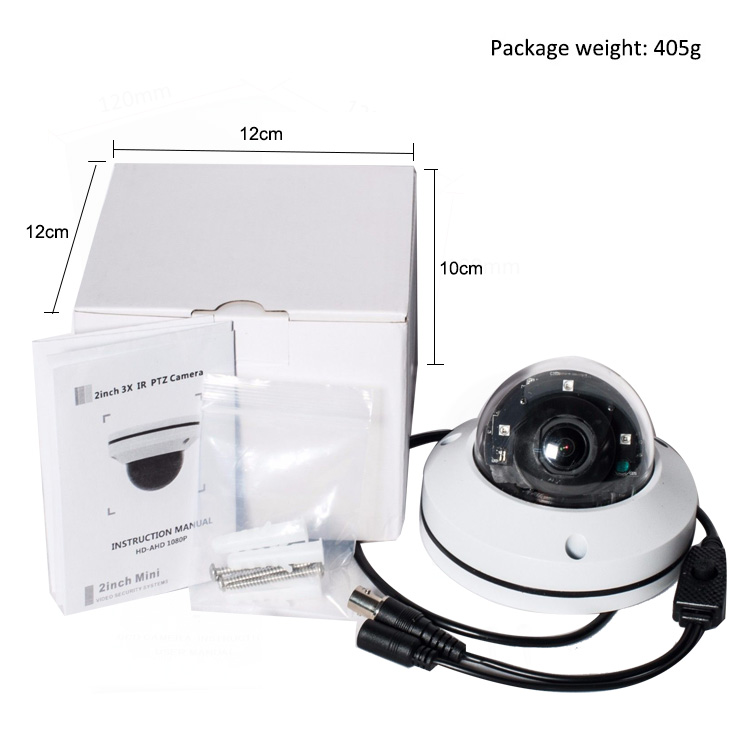 "AHD CVI TVI Analog 4 in 1 Metal Dome 2"" Mini 1080P PTZ Camera 3x Zoom"