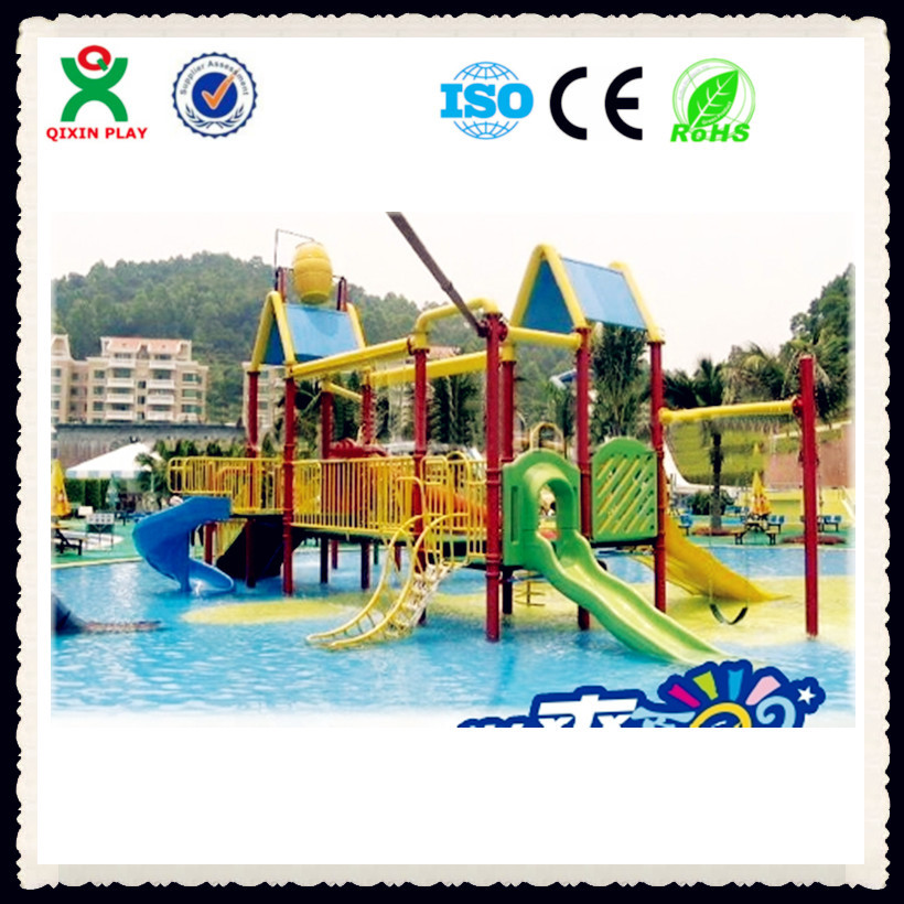 China water park supplier swimming pool play equipment kids water play equipment kids plastic water slides QX-081D