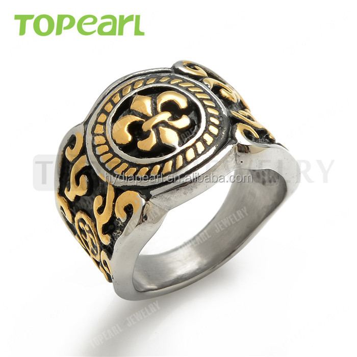 Topearl Jewelry Fleur De Lis Celtic Stainless Steel Mens Ring Vintage Gold Black Silver MER446