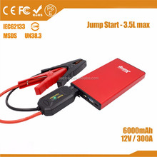 Portable newest 12v car battery jumper cables 6000mAh car jump starter