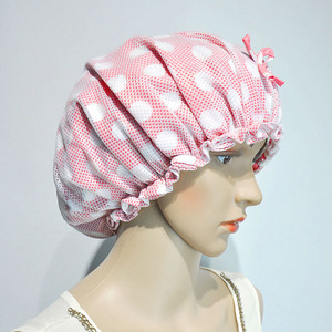 Promotional pink PVC bathing cap bathing cover shower cap for girls