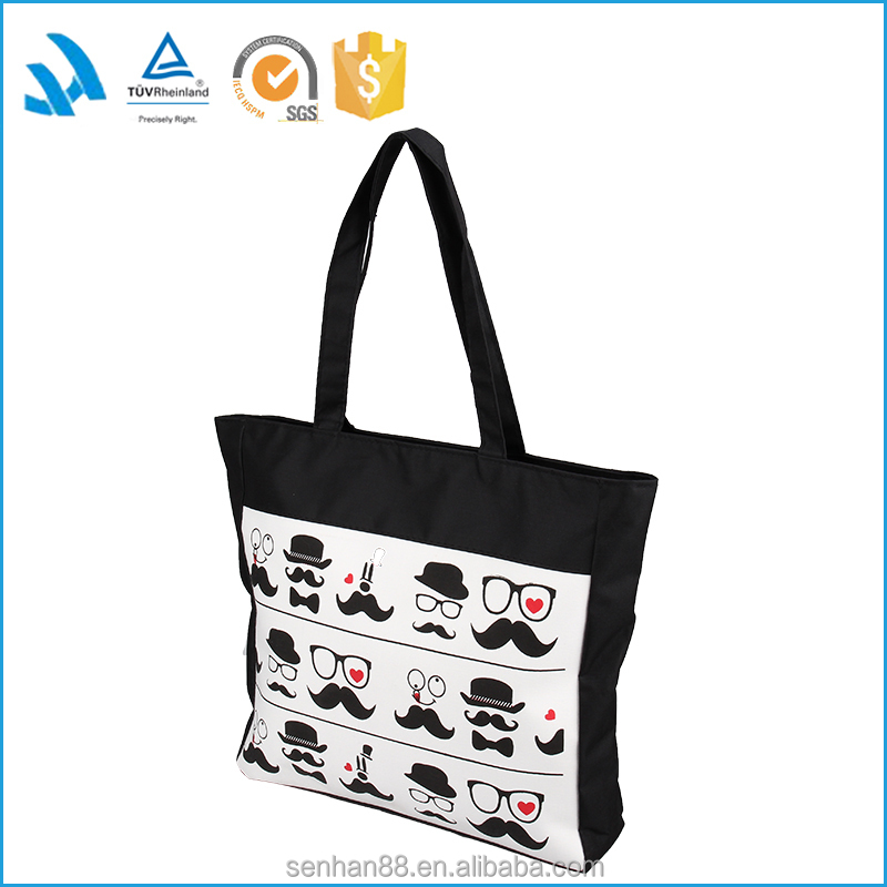 Promotional custom reusable polyester canvas tote shopping bag