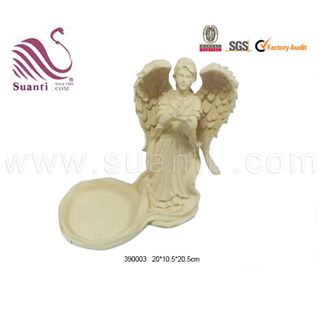 Custom resin white angel wings home decor with tealight holder