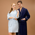blue single layer waffle bathrobe hot sale for 5 stars hotel