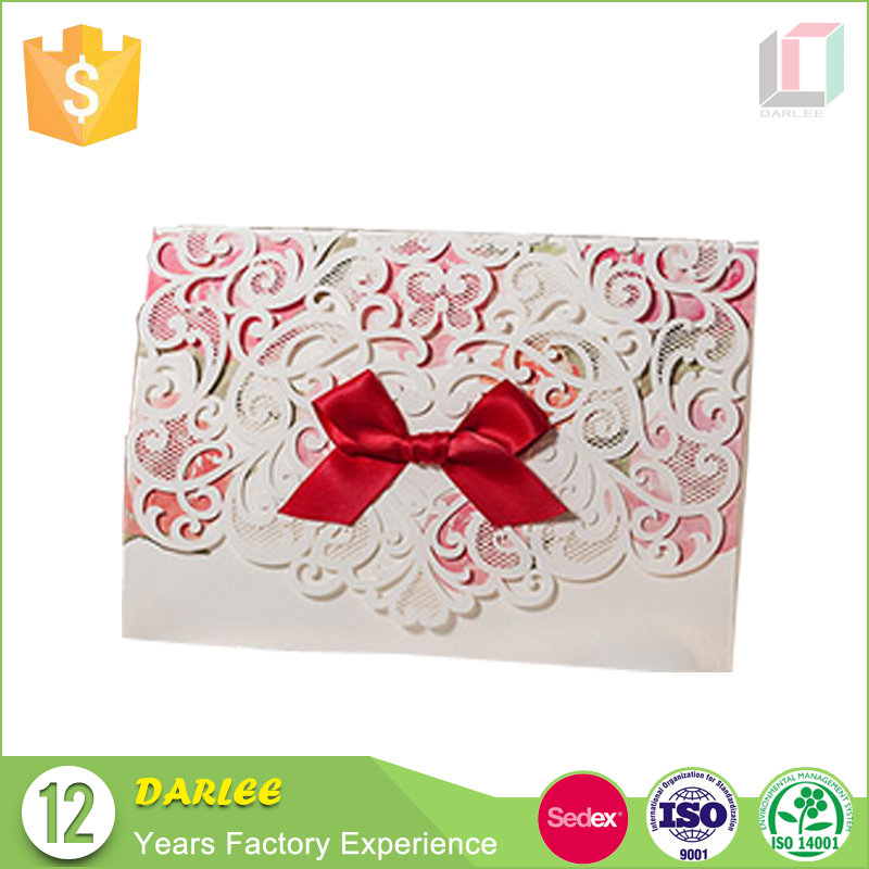 Chinese wedding invitations handmade lace wedding invitation cards with ribbon