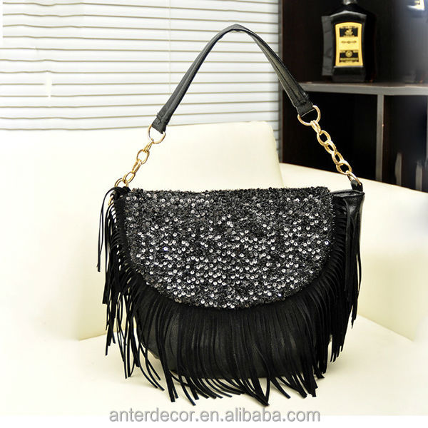 elegant black tassel shoulder bag pu leather bag 2014